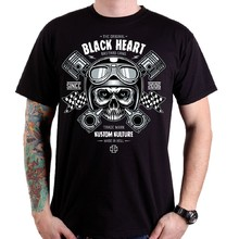 Тениска BLACK HEART Piston Skull - черен